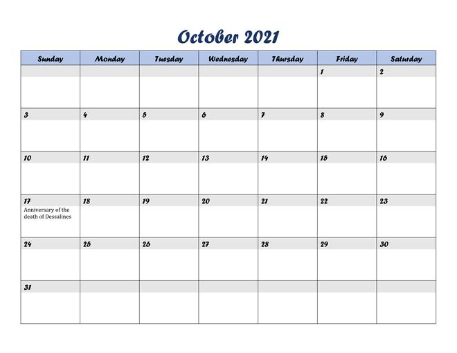 2021 October Calendar Month