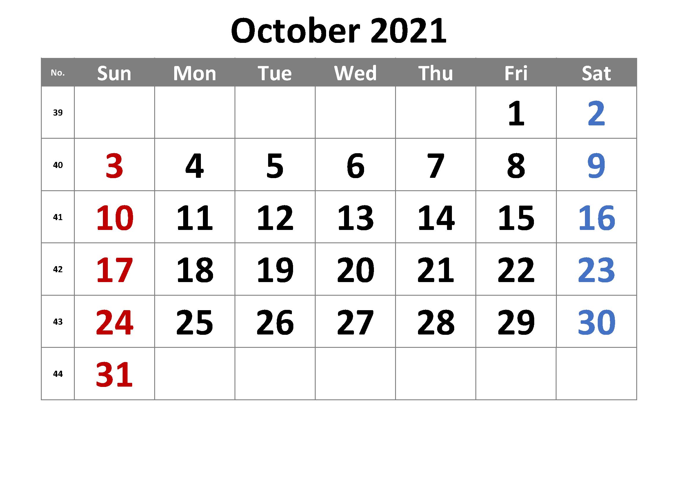 2021 October Calendar Tamil