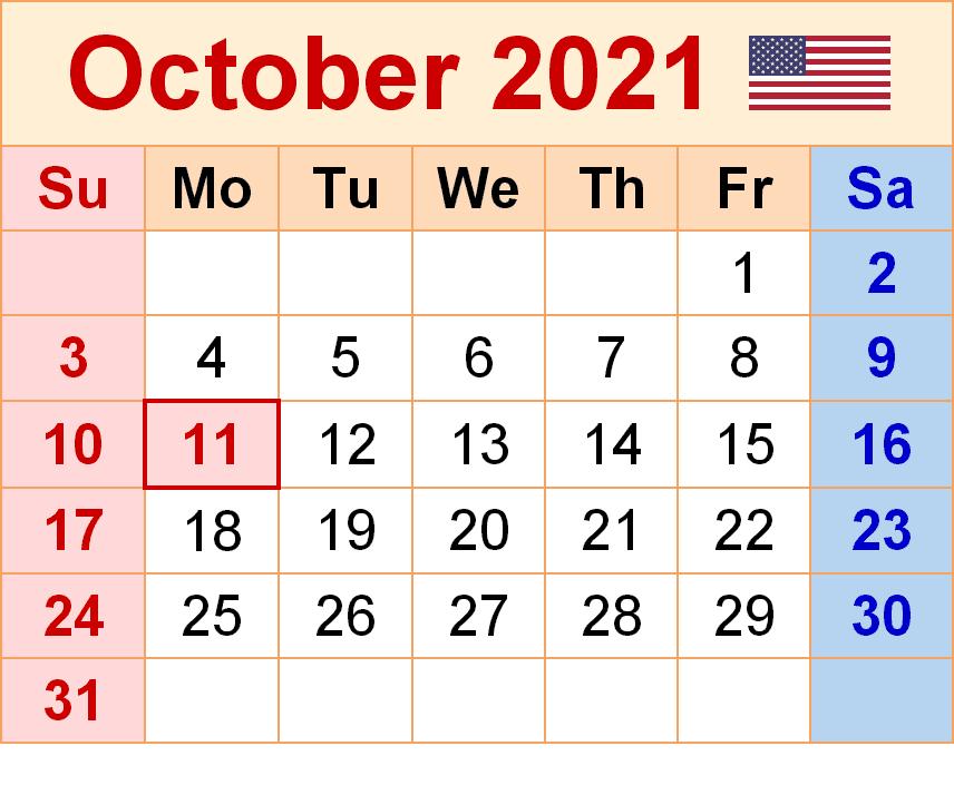 2021 October Calendar With Jewish Holidays