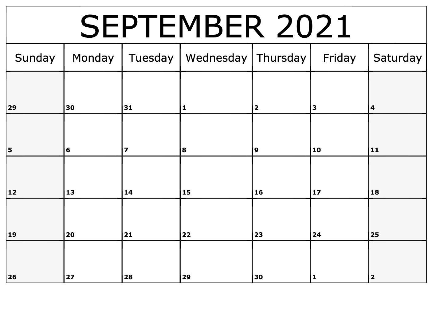2021 September Calendar Canada