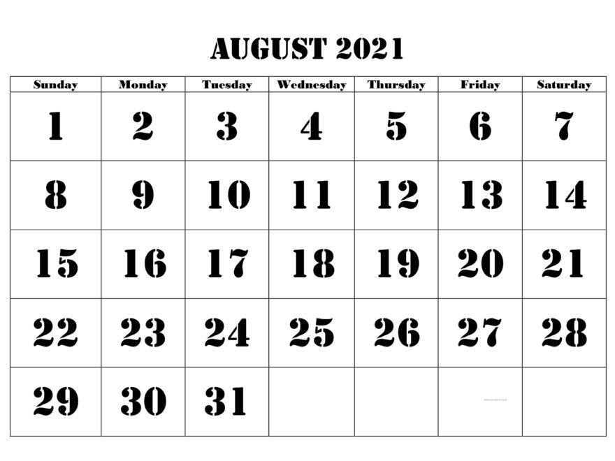 August 2021 Blank Calendar Excel