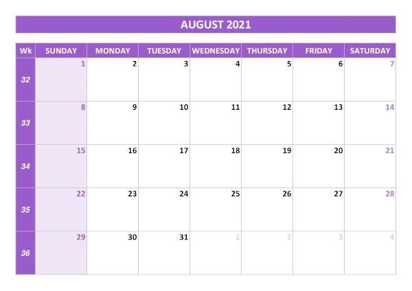 August 2021 Blank Calendar Monthly