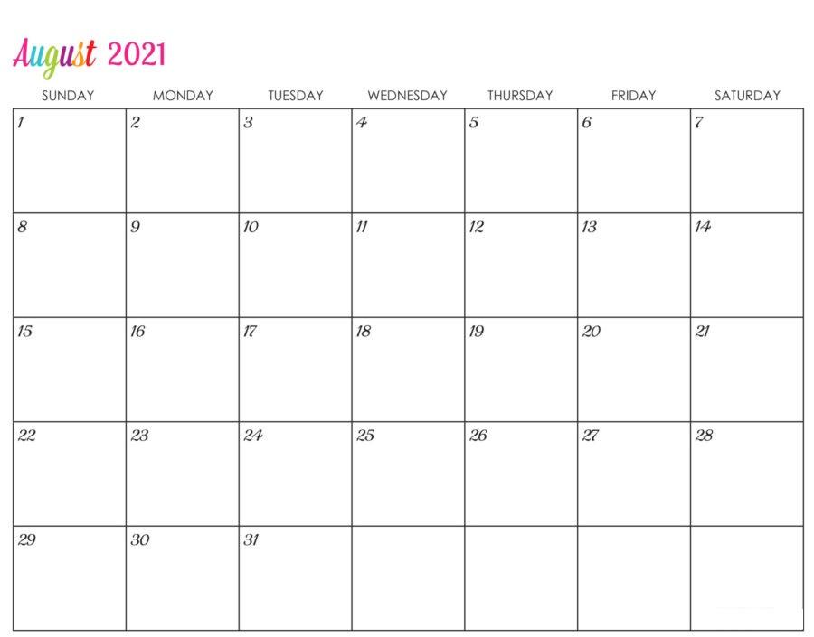 August 2021 Blank Calendar Print