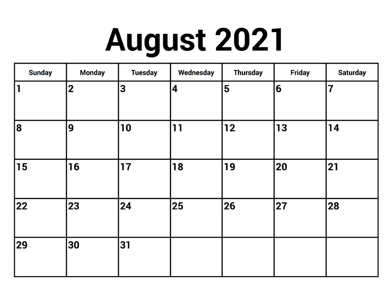 August 2021 Blank Calendar Printable