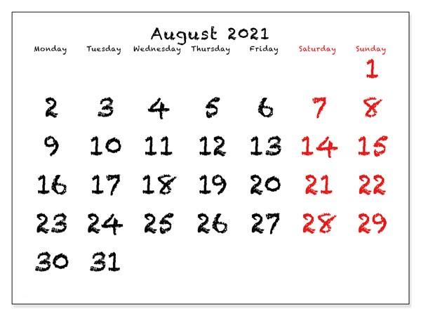 August 2021 Blank Calendar Vertex