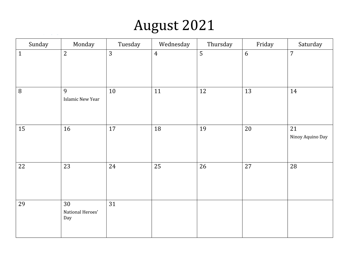 August 2021 Blank Calendar With Notes
