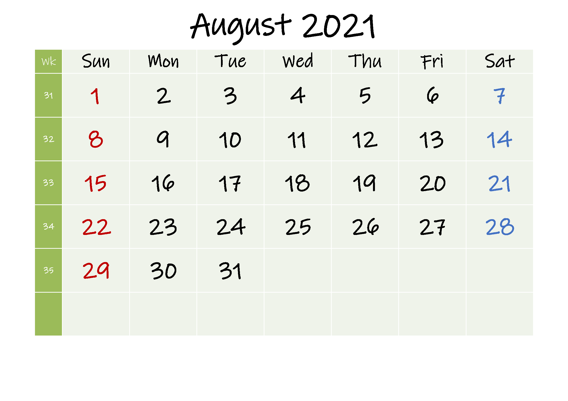 August 2021 Blank Calendar Word