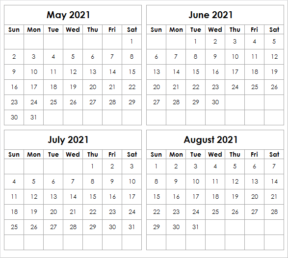 August 2021 Calendar Blank Printable