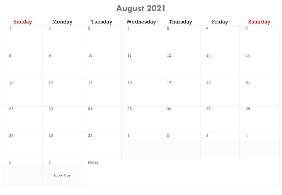 August 2021 Calendar Hindi