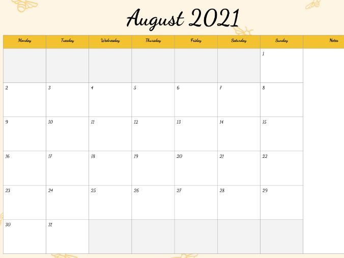 August 2021 Calendar Printable Canada