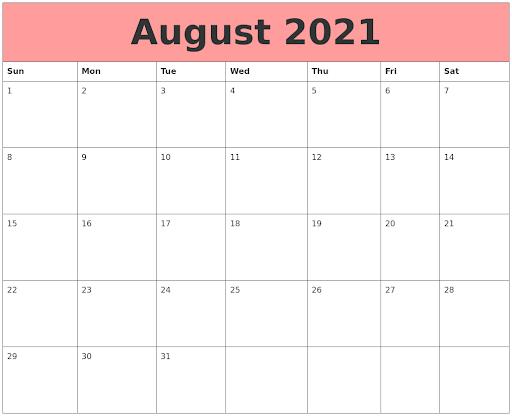 August 2021 Calendar Printable Excel