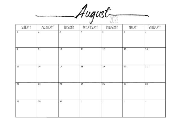 August 2021 Calendar Printable PDF
