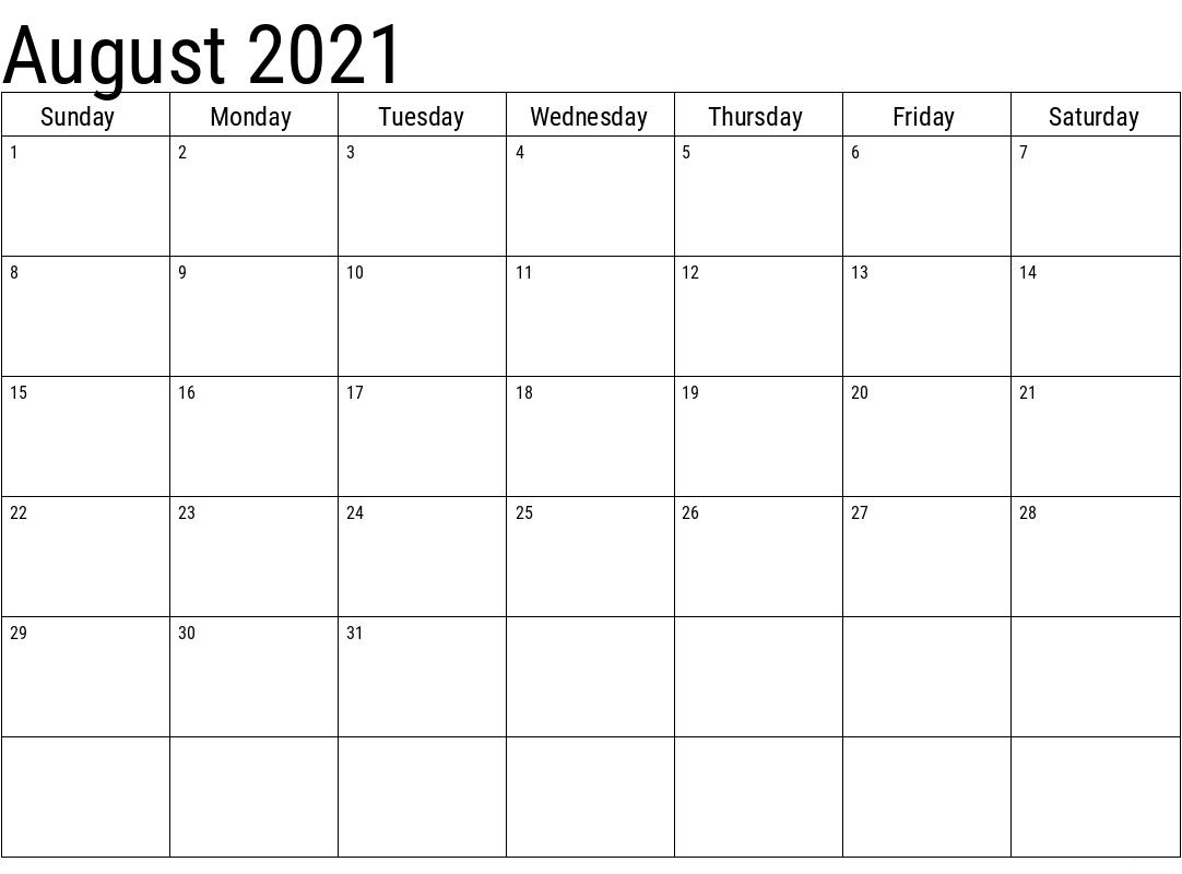 August 2021 Calendar Printable UK
