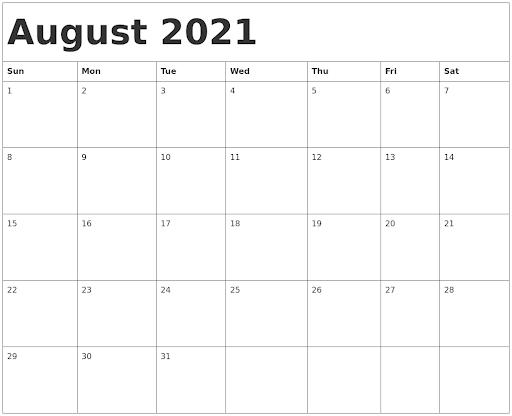 August 2021 Calendar Printable Word