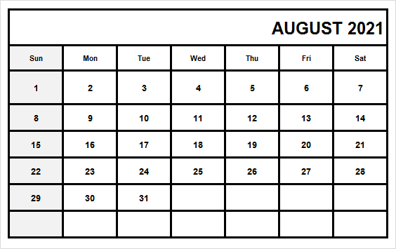 August 2021 Calendar Tamil