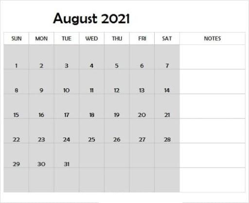 August 2021 Calendar Template Blank