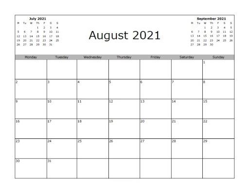 August 2021 Calendar Template Festival