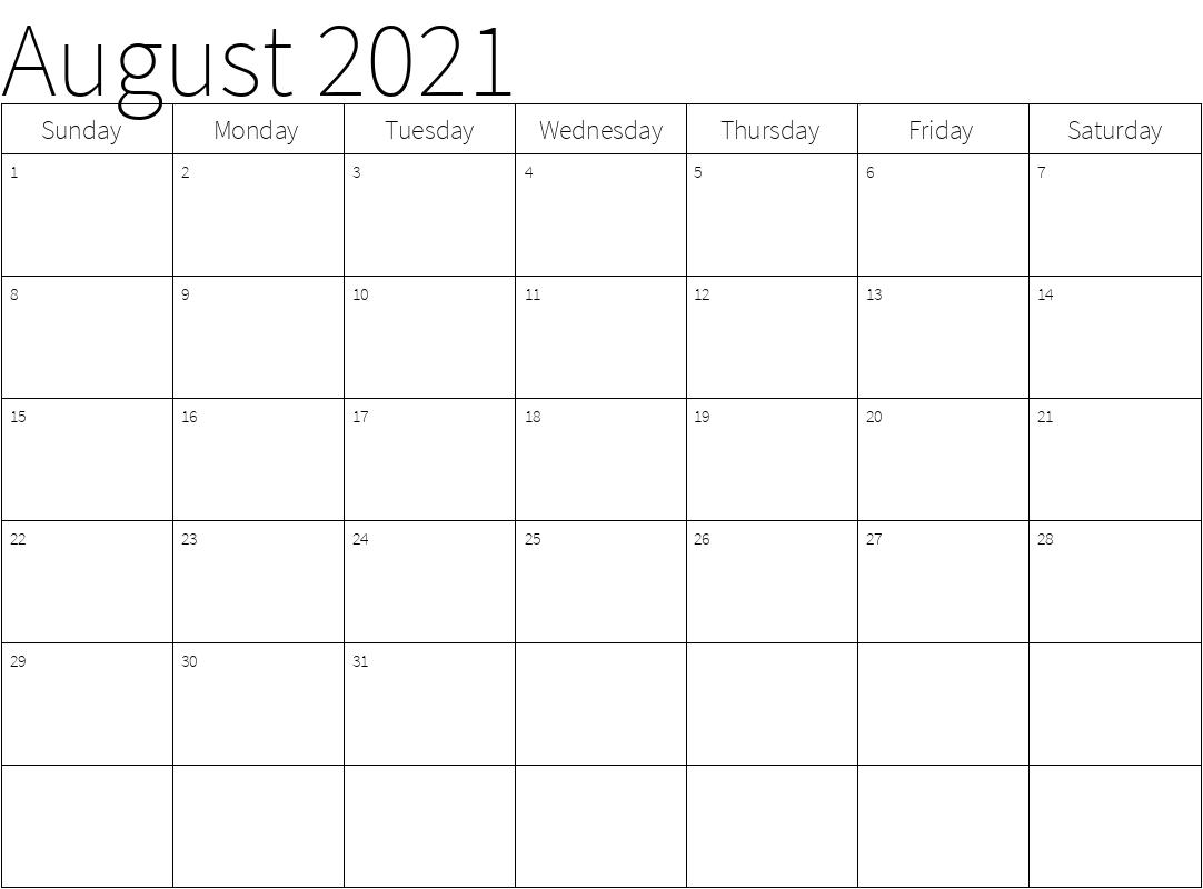 August 2021 Calendar Template PDF