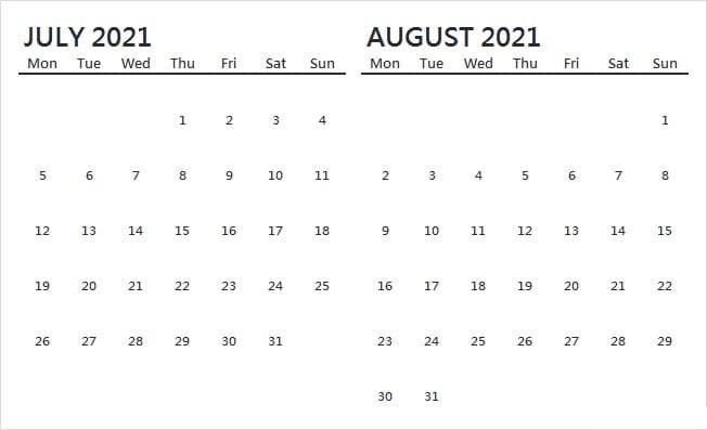 August 2021 Calendar Template Print