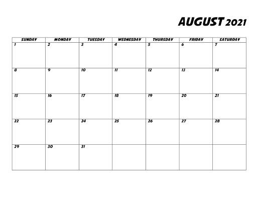 August 2021 Calendar Template Printable Free