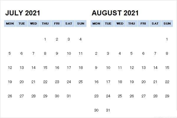 August 2021 Calendar Template Printable