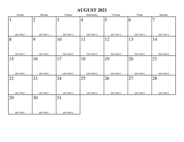 August 2021 Calendar Template UK