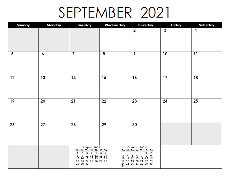 August 2021 Calendar Template USA