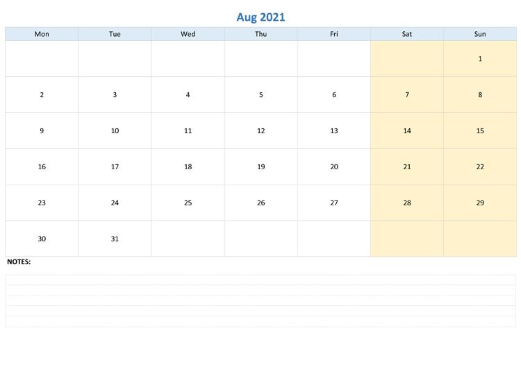 August 2021 Calendar Template Word