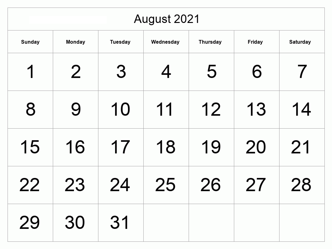 August 2021 Calendar With Festival