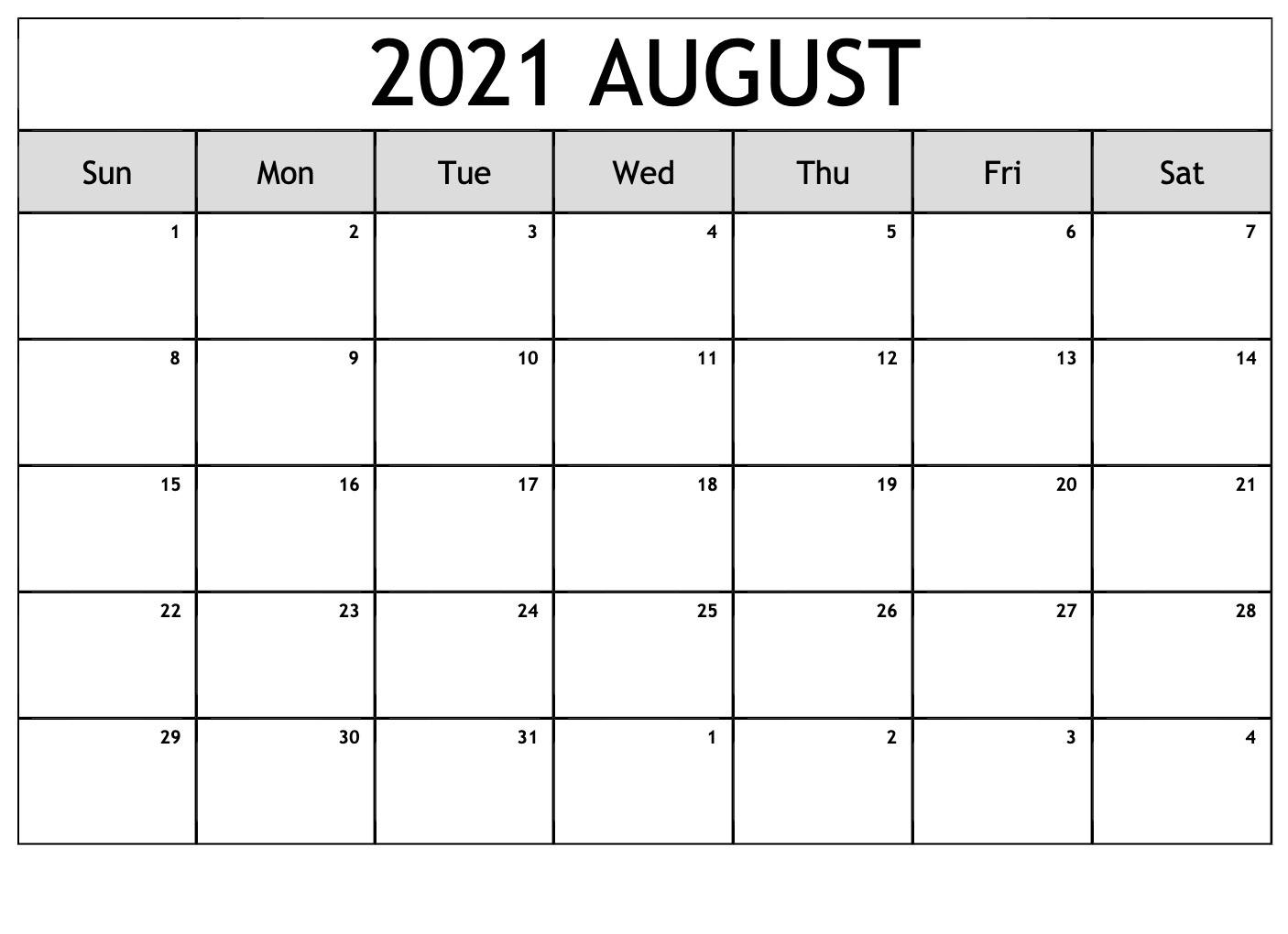 August 2021 Calendar With Holidays USA