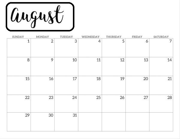 August 2021 Islamic Calendar