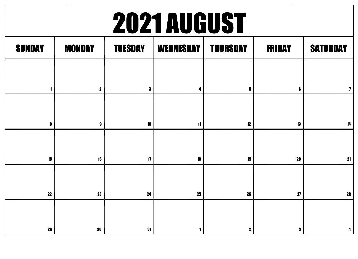 August 2021 Printable Calendar Landscape