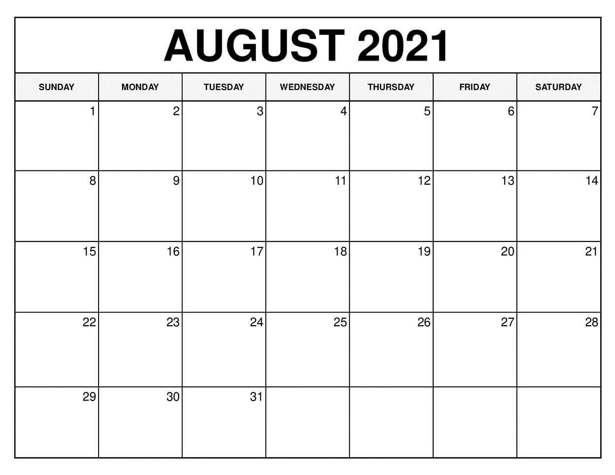 August 2021 Printable Calendar Template