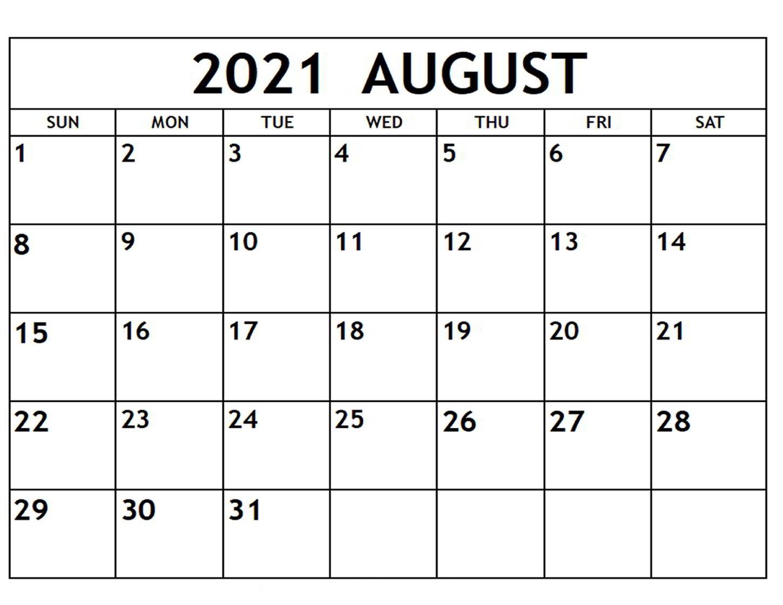 August 2021 Printable Calendar Waterproof