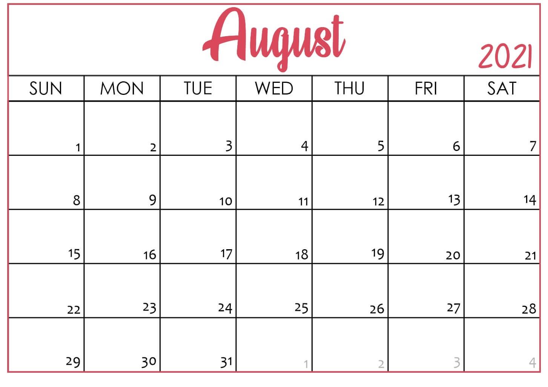 August 2021 Printable Calendar Word