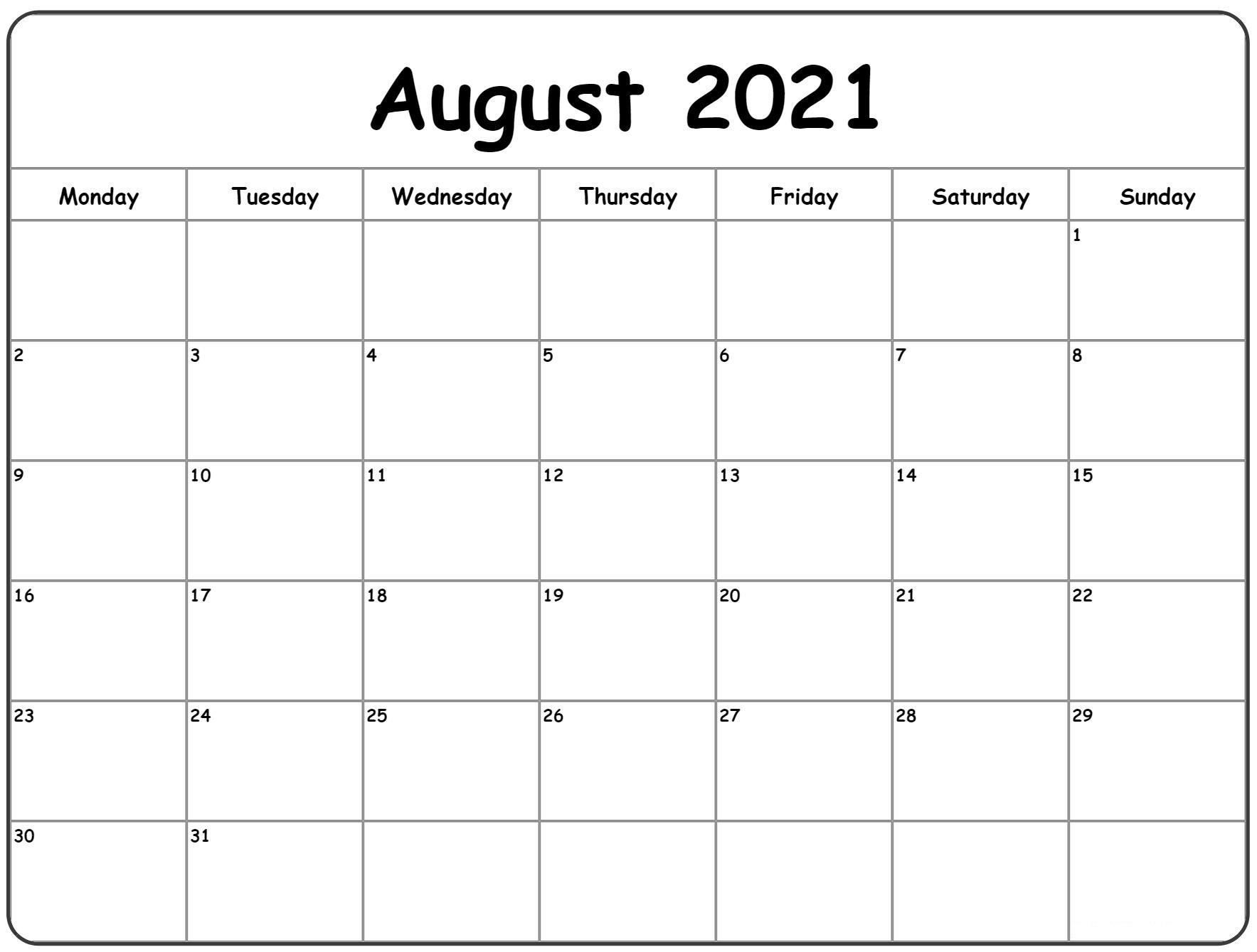 August 2021 Printable Calendar