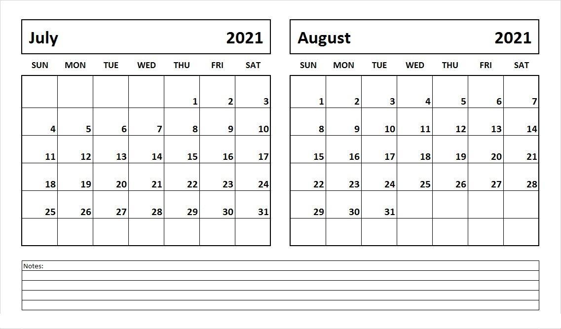August 2021 Printable Weekly Calendar