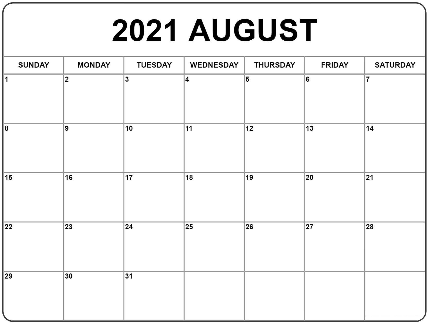 August Calendar 2021 Hindu