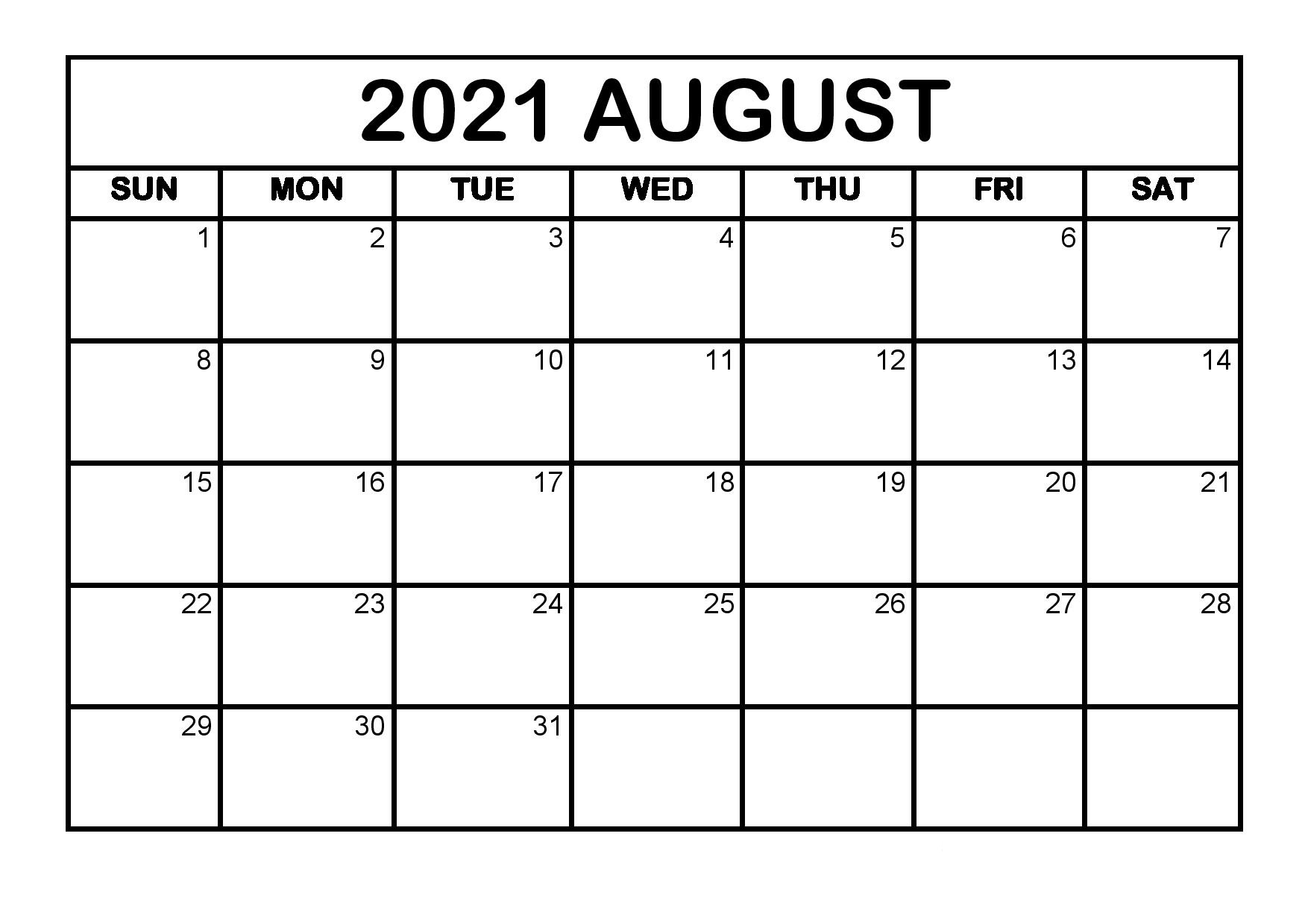 August Free Printable Calendar 2021