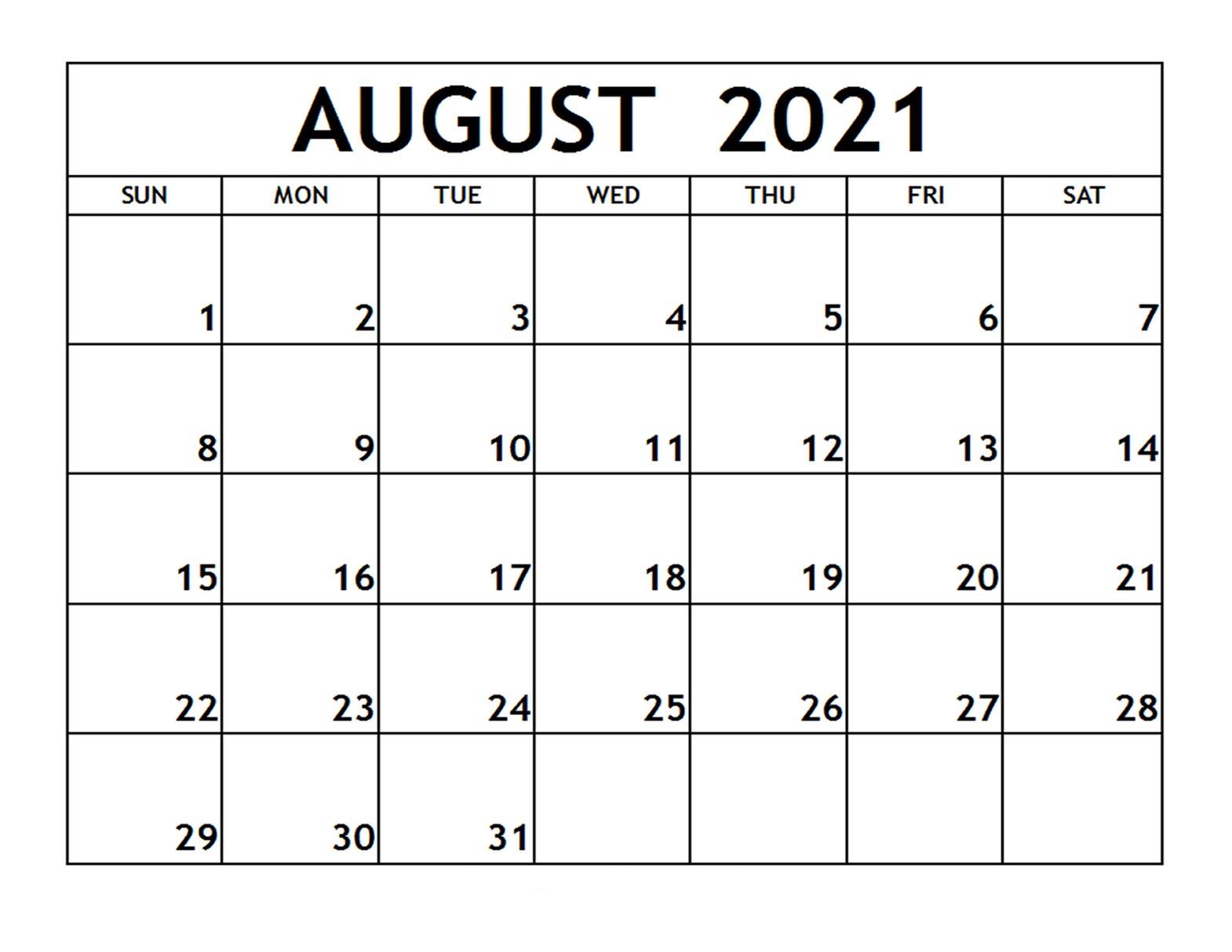 August Printable Calendar 2021