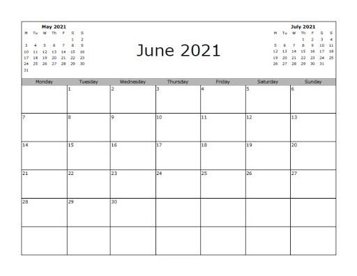 Blank 2021 June Calendar