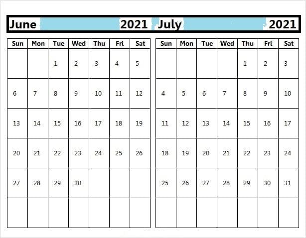 Blank July 2021 Calendar Printable