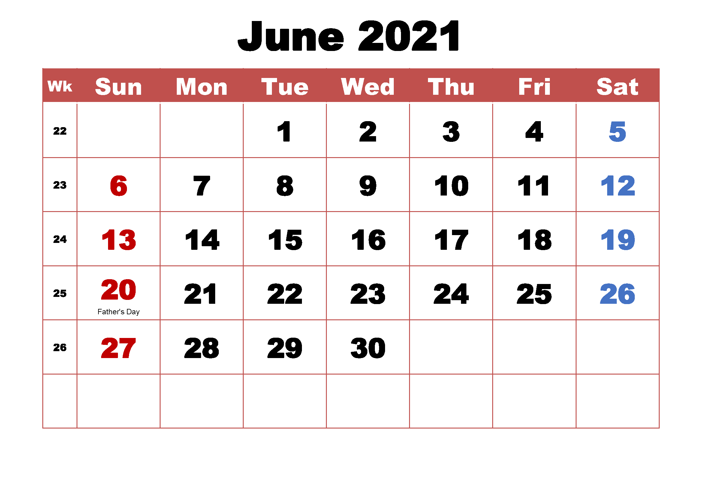 Blank June 2021 Calendar Template