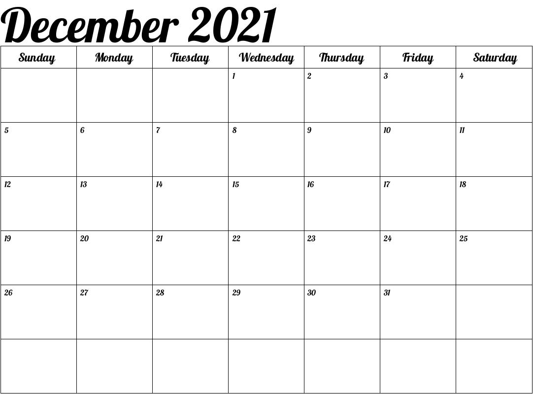 December 2021 Blank Calendar Excel Template