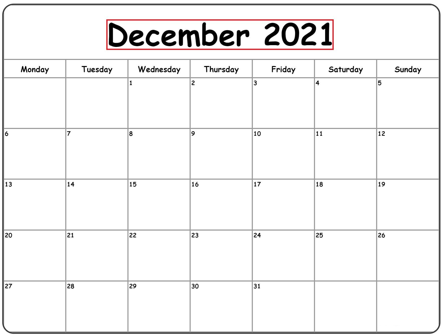 December 2021 Blank Calendar Grid Printable