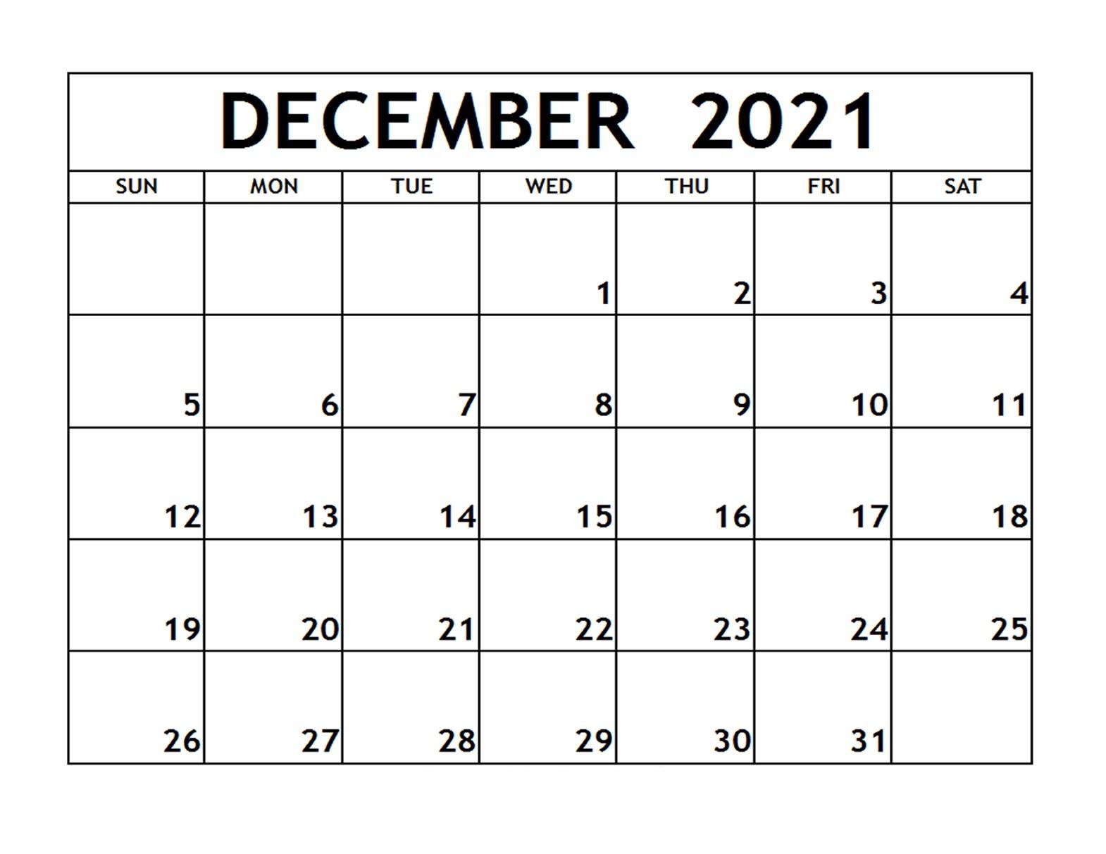 December 2021 Blank Calendar Landscape