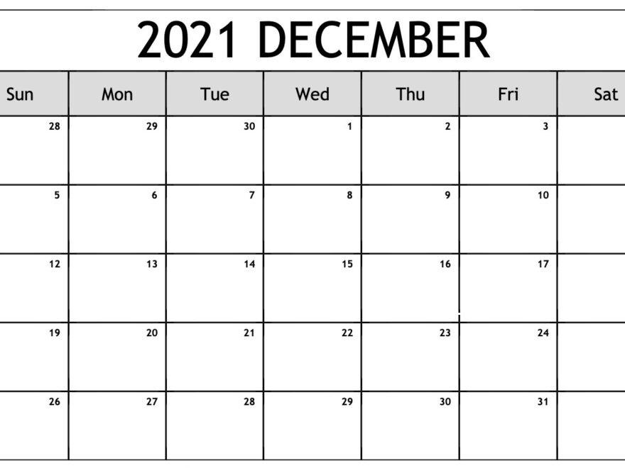 December 2021 Blank Calendar Layout
