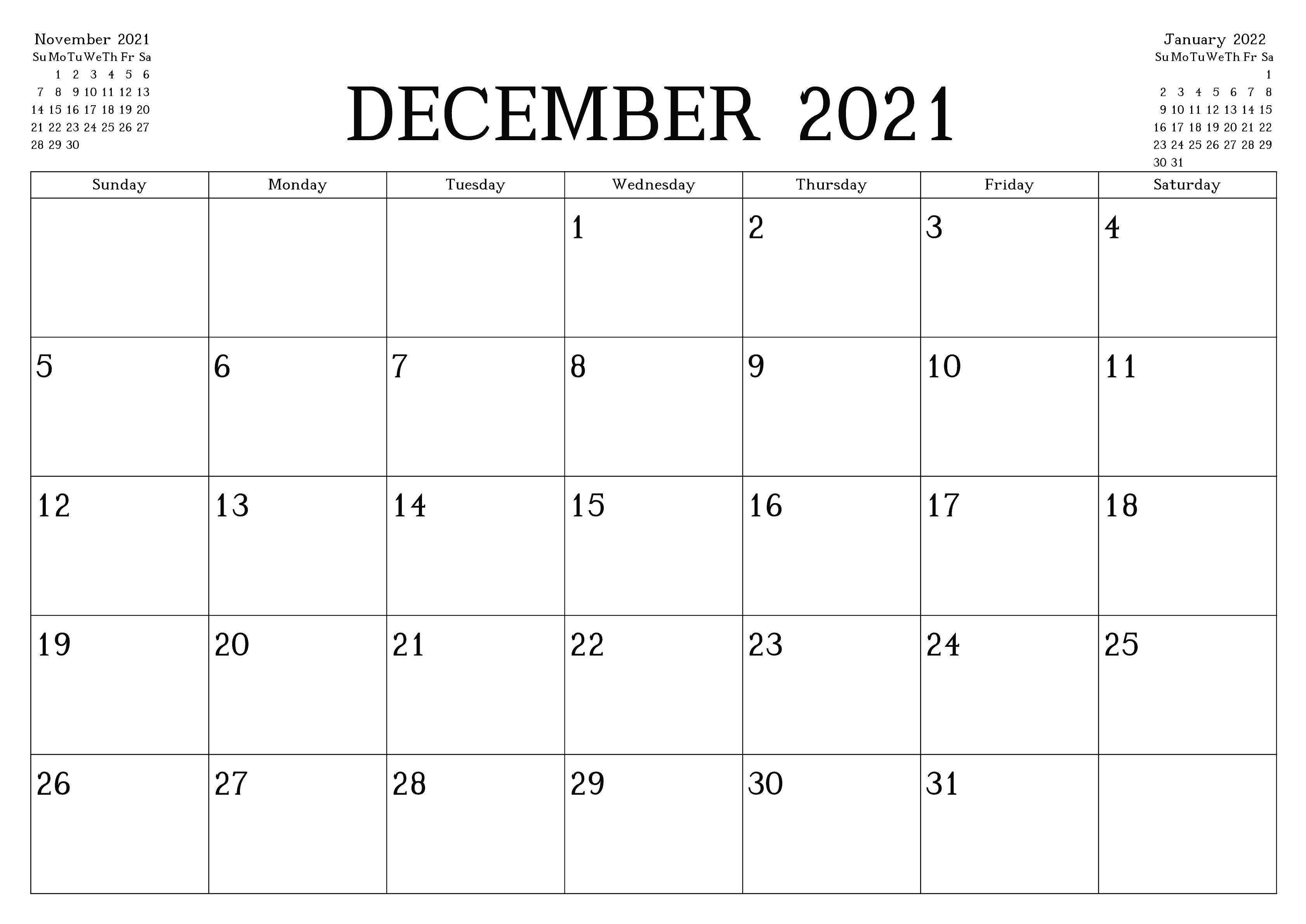 December 2021 Blank Calendar Month Printable Template
