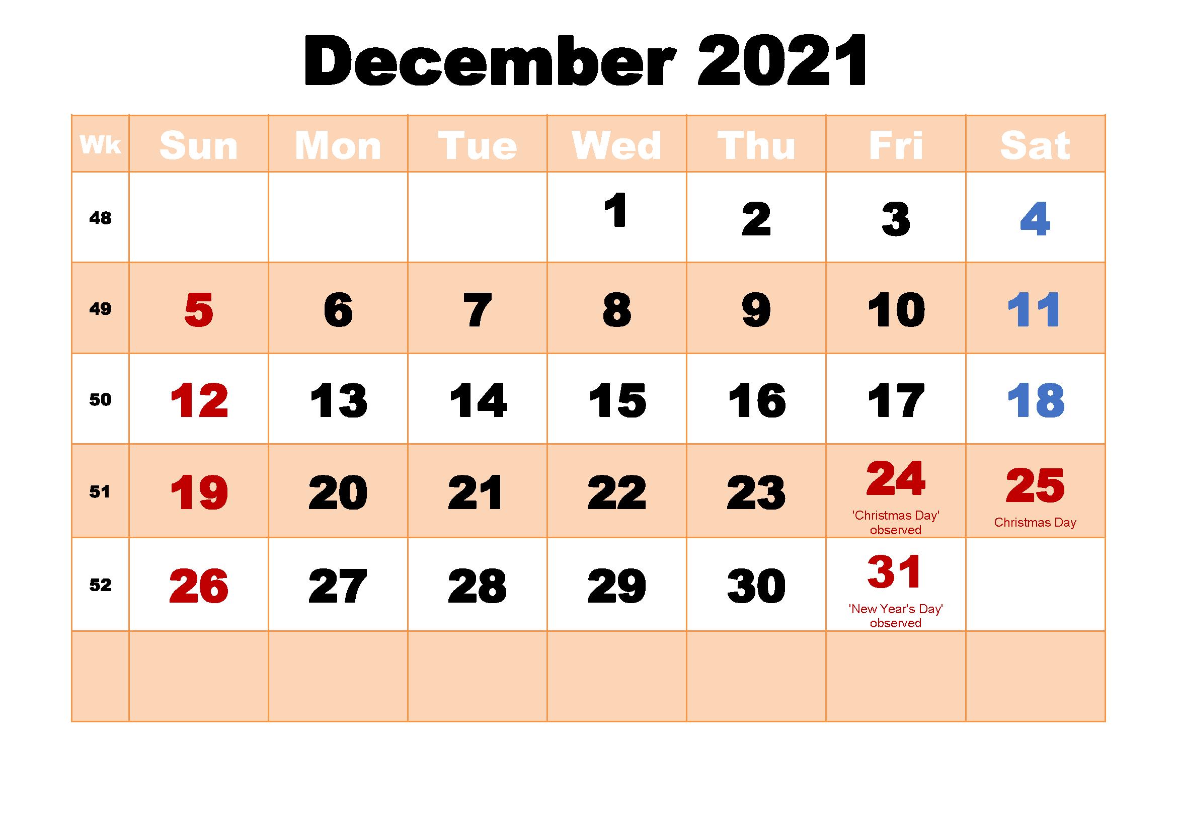 December 2021 Blank Calendar Month Printable