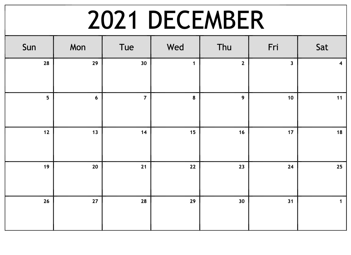 December 2021 Calendar Blank PDF
